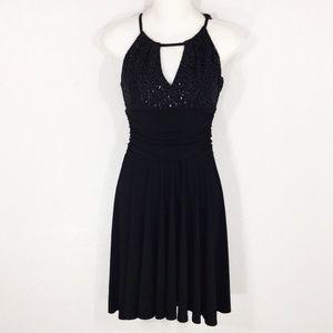 Black Sequin Keyhole Swing Dress